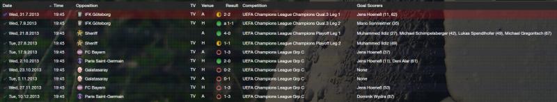 2014 / 14 European fixtures